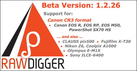 RawDigger 1.2.26 Beta with CR3 Support