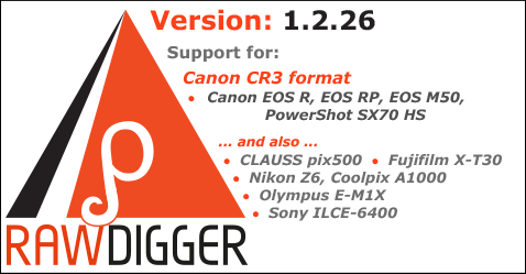 RawDigger 1.2.26. CR3 Support