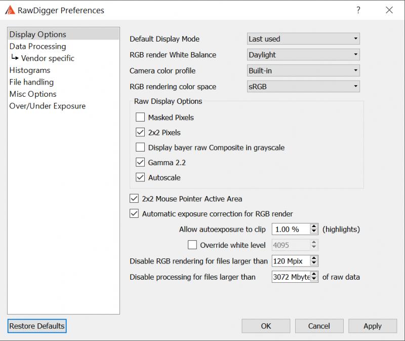 RawDigger Preferences | RawDigger