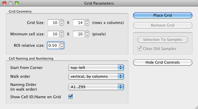 RawDigger Grid Parameters Menu
