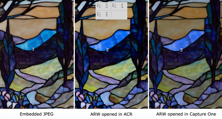 SONY a6500: embedded JPEG vs. ACR render vs. Capture One render