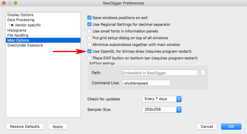 RawDigger 1.4. Preferences. Misc. Options